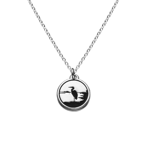 Heron Necklace in Sterling Silver