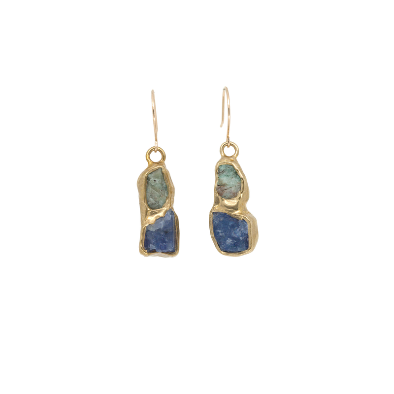 Hidden Trail Earrings (Emerald and Tanzanite)
