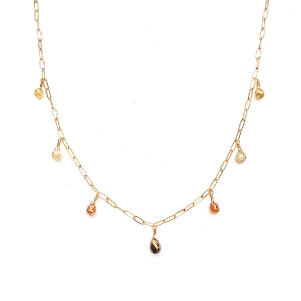 Rustic Diamond Briolette Multidrop Necklace in 14K Gold