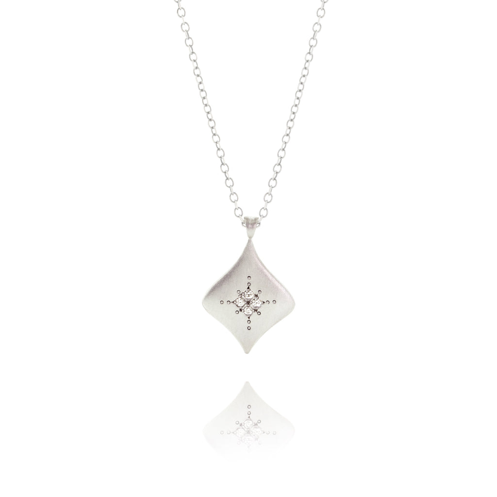 Silver Night Necklace with Diamond in Sterling Silver