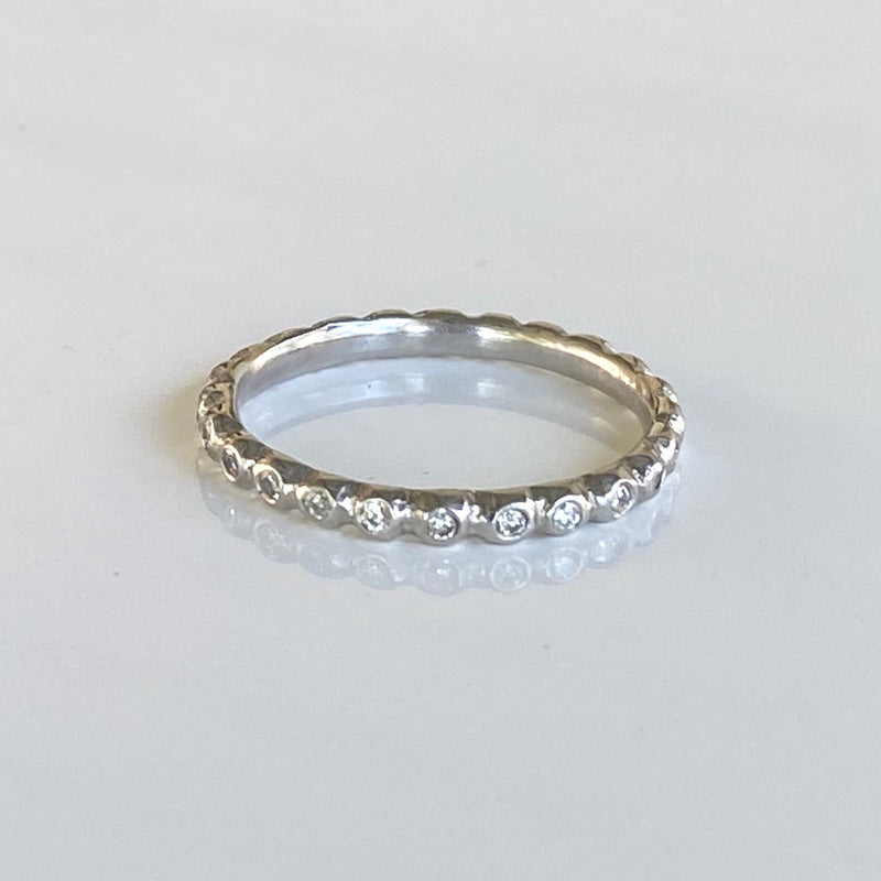Micro Pebble Eternity Band with White Diamonds in Platinum