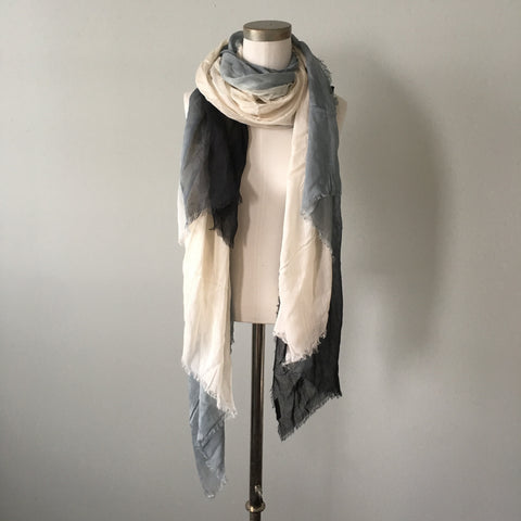 Silk/Cashmere Scarf (Black/White/Grey)
