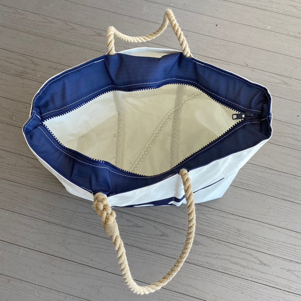Large Cleat Zippered Tote (White & Navy)
