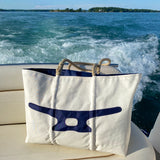 Large Cleat Zippered Boat Tote (White & Navy)