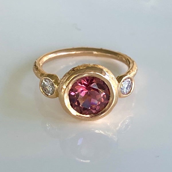 Triple Moon Ring with Pink Tourmaline and White Diamonds in 18K Rose Gold