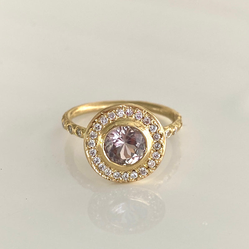 Halo Ring with Diaspore and Diamonds in 18K Yellow Gold