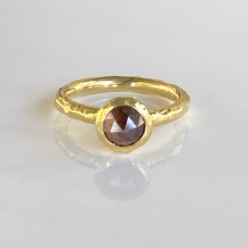 Pebble Bezel Ring with Moss Diamond in 18K Yellow Gold