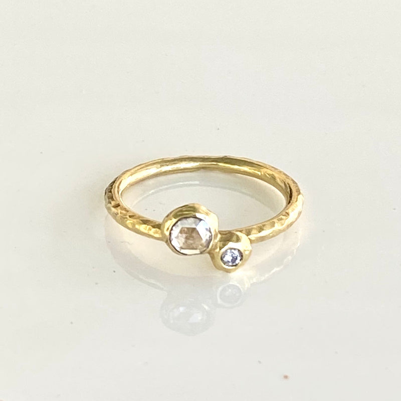 Double Pebble Ring with White Diamonds in 18k Yellow Gold