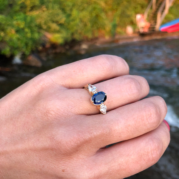 Dark Blue Sapphire & Diamond Ripple Ring in 14K Gold