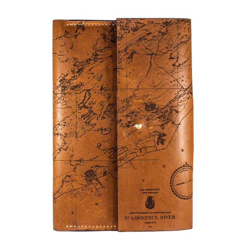 St. Lawrence River Chart Leather Journal