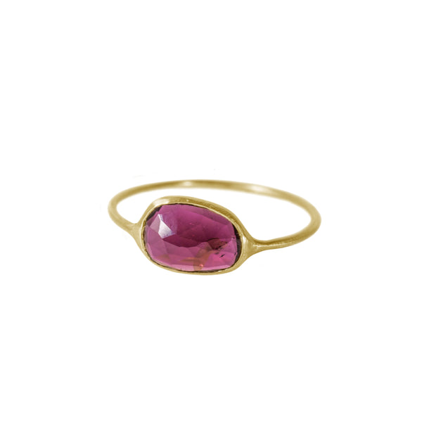 Large Dark Pink Tourmaline Ring in Solid 18K Gold