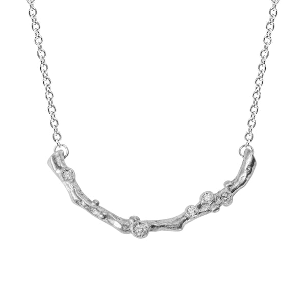 Encrusted Long Branch Necklace with Diamonds in Sterling Silver