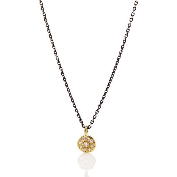 Tiny Floret Necklace with Diamonds in Yellow Gold on Oxidized Sterling Silver Chain