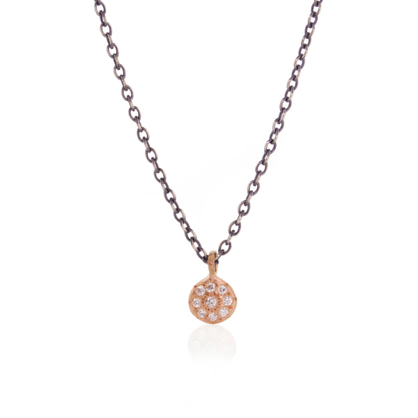 Tiny Floret Necklace with Diamonds in Rose Gold on Oxidized Sterling Silver Chain