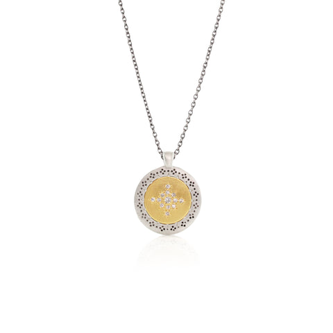 Medium Seeds of Harmony Necklace with Diamonds in 14K Gold and Sterling Silver