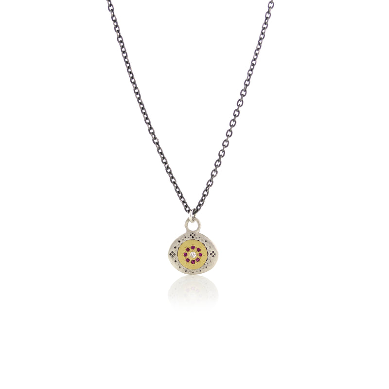 Small Seeds of Harmony Necklace with Ruby and Diamonds in 14k Gold and Sterling Silver