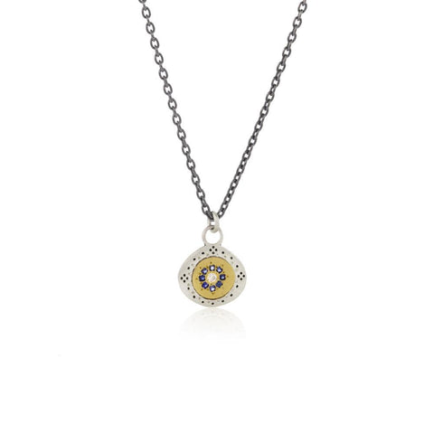 Small Seeds of Harmony Necklace with Sapphires and Diamond in 14k Gold and Sterling Silver