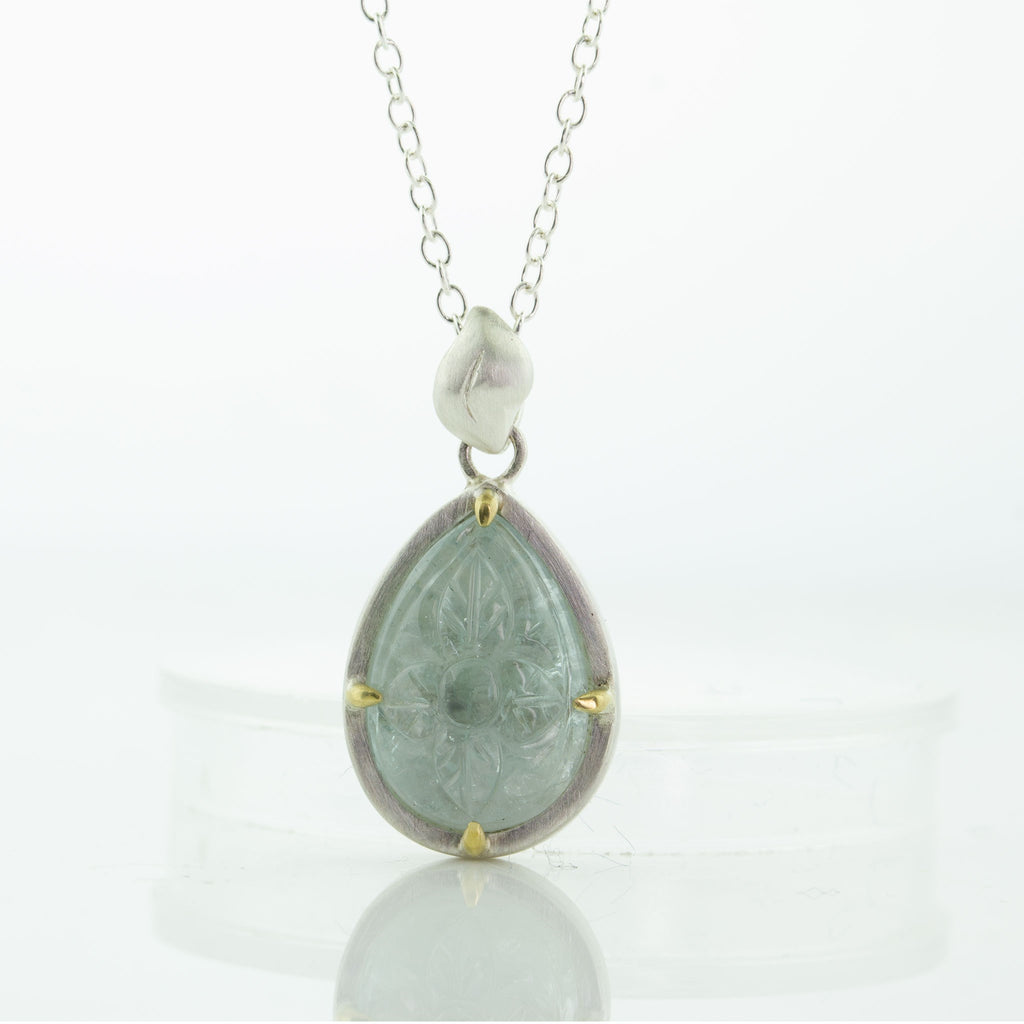 Carved Aqua Teared Pendant in Sterling Silver