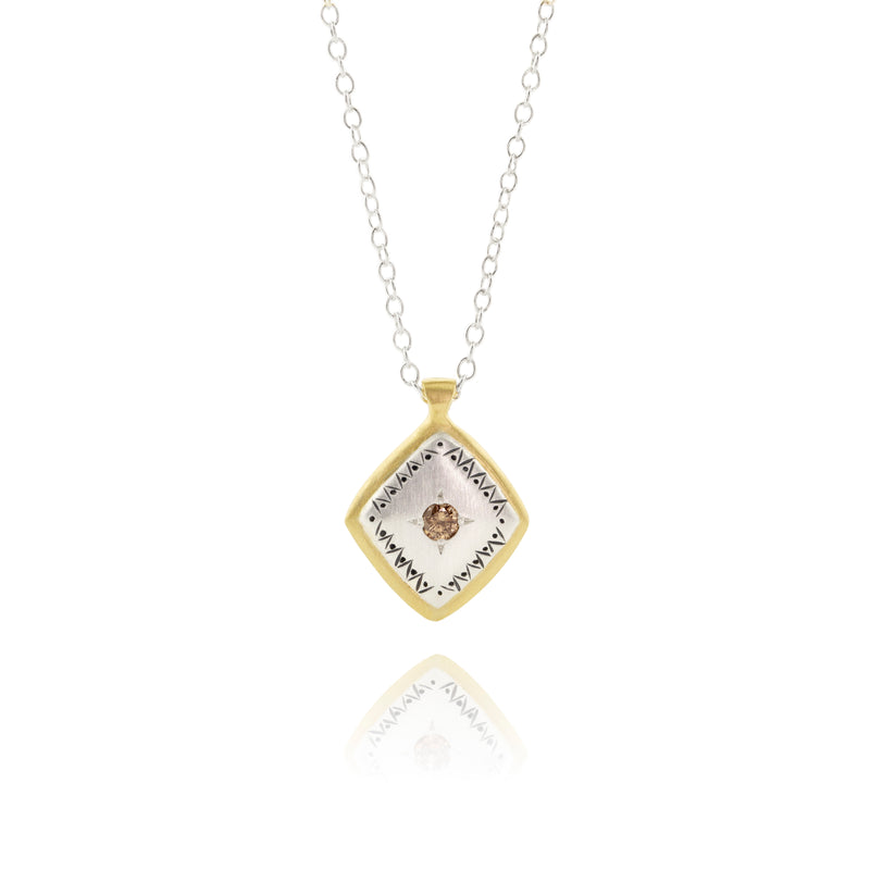 Lumiere Necklace with Champagne Diamond in Sterling Silver