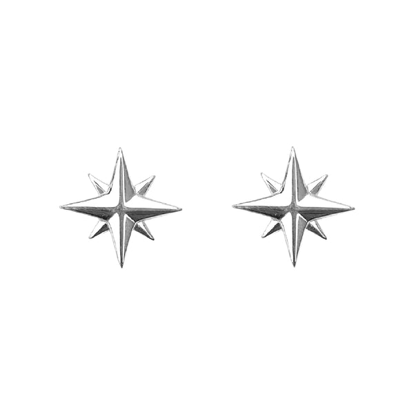 Medium Compass Rose Stud Earrings