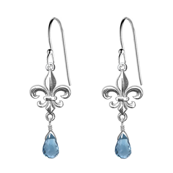 Medium Fleur de Lis and Gemstone Earrings