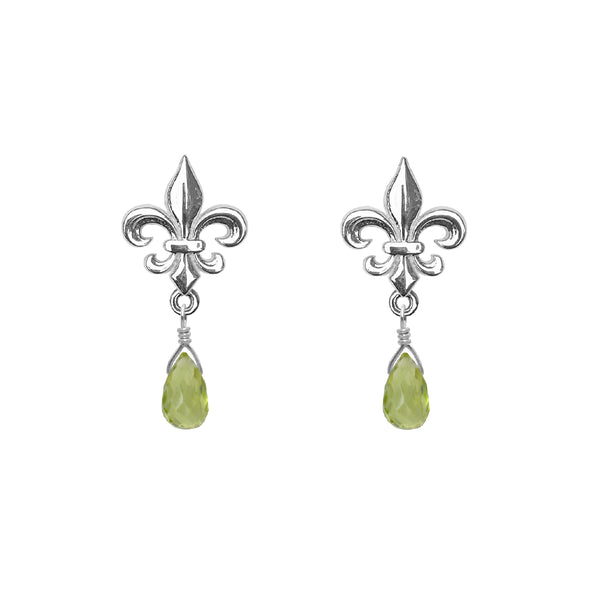 Medium Fleur de Lis and Gemstone Post Earrings