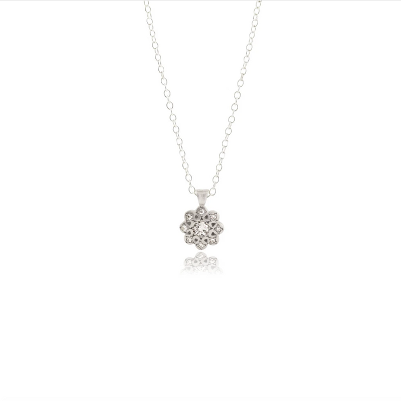 Moonflower Charm Pendant Necklace with Diamond in Sterling Silver