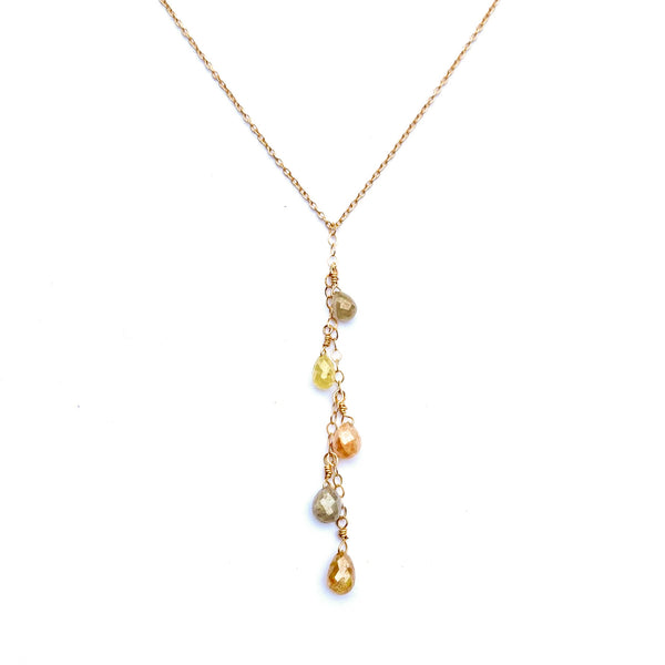 Rustic Diamond Briolette Cascade Necklace in 14K Gold