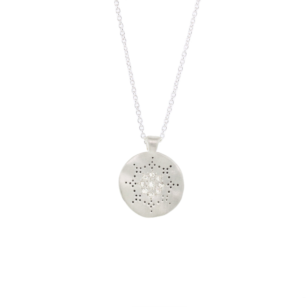 Medium Reflections Necklace with Diamond in Sterling Silver