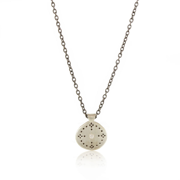 Small Nostalgia Necklace with Diamond in Sterling Silver