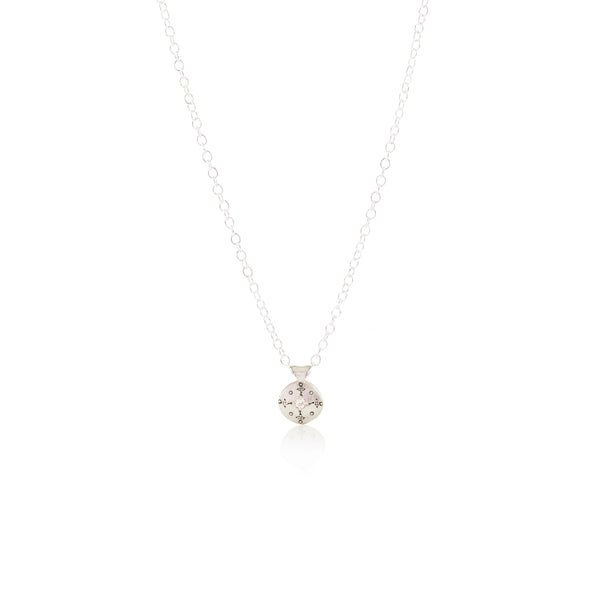 Tiny Silver Lights Necklace with Diamond in Sterling Silver