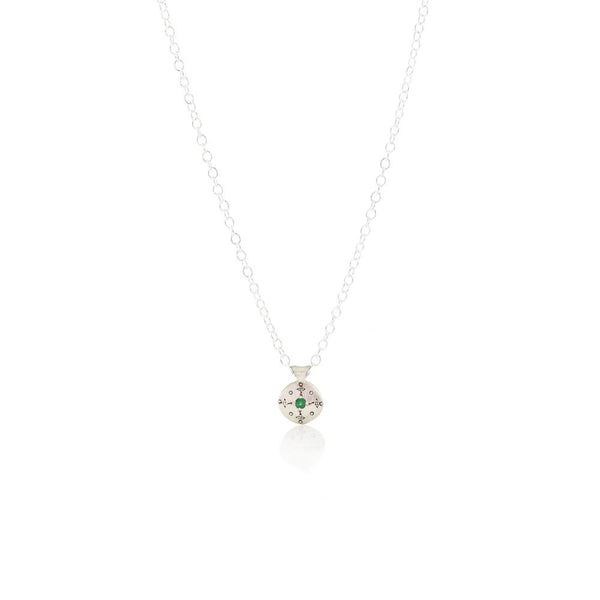 Tiny Silver Lights Necklace with Emerald in Sterling Silver