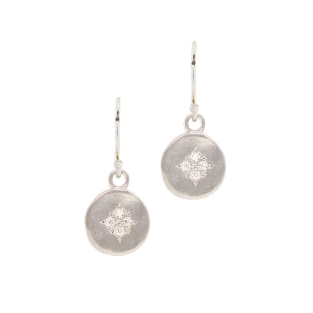 Small Four Star Wave Earrings with Diamonds in Sterling Silver