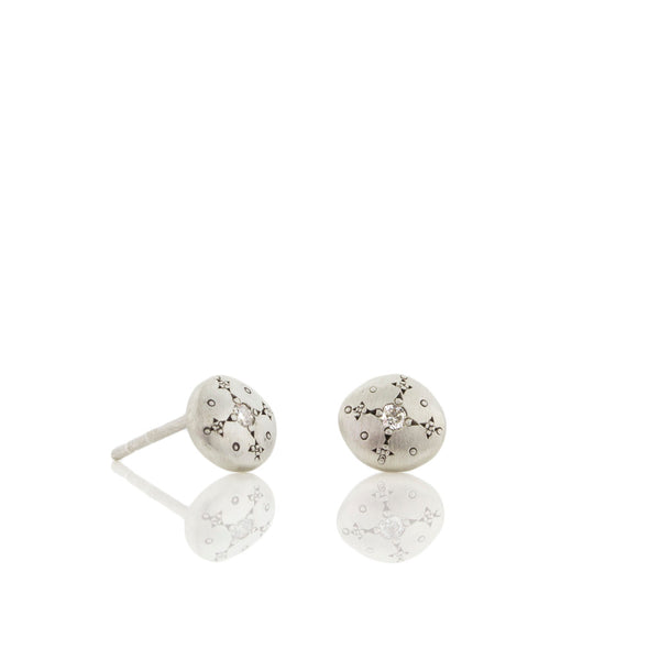 Silver Light Studs with Diamonds in Sterling Silver