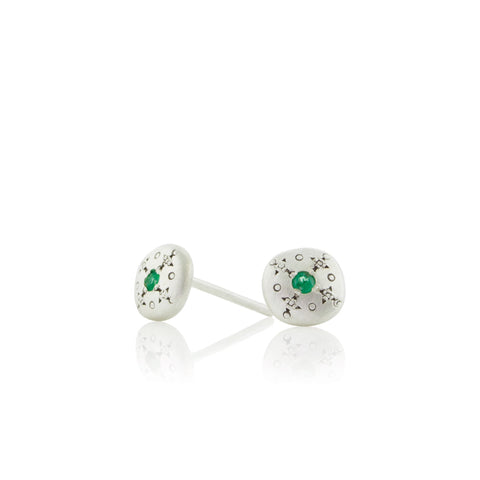 Silver Light Studs with Emeralds in Sterling Silver