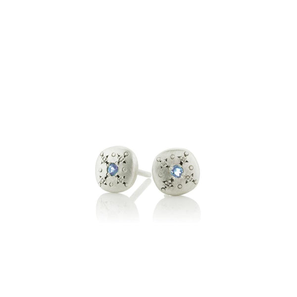 Silver Light Studs with Aquamarine in Sterling Silver