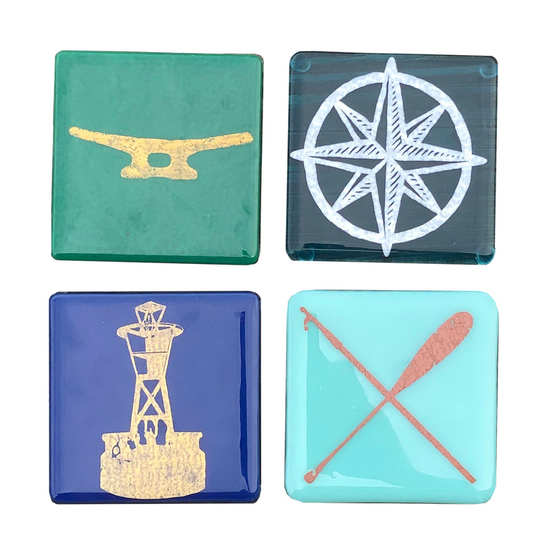 Nautical Glass Coasters (Set of Four)