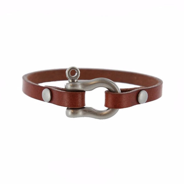 Classic Shackle Bracelet (Nickel on Chestnut Leather)