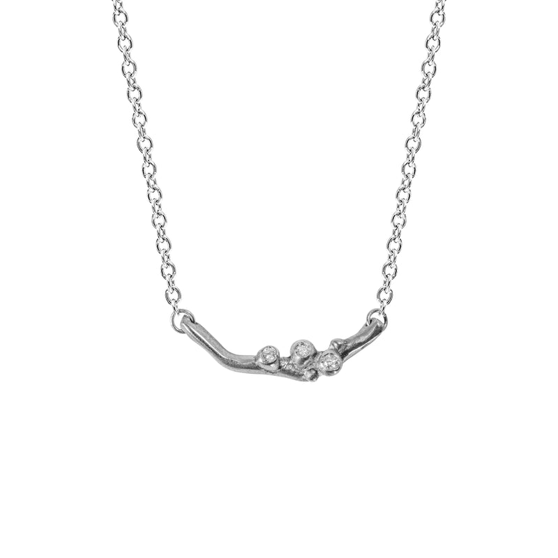 Encrusted Tiny Branch Necklace with Diamonds in Sterling Silver