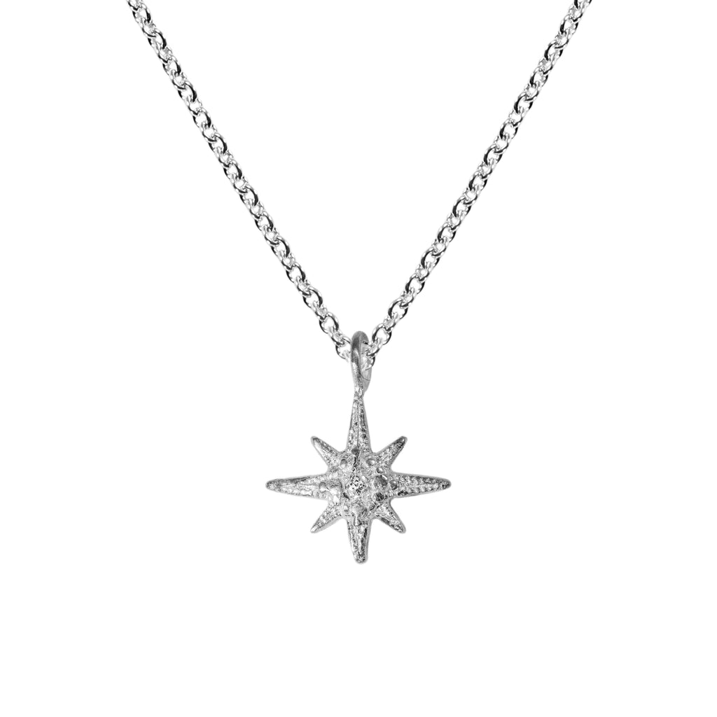 Tiny Gratitude Star Necklace with Diamond in Sterling Silver