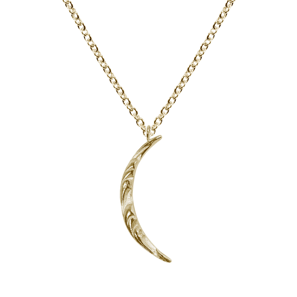 Texture Moon Necklace in 14K Gold