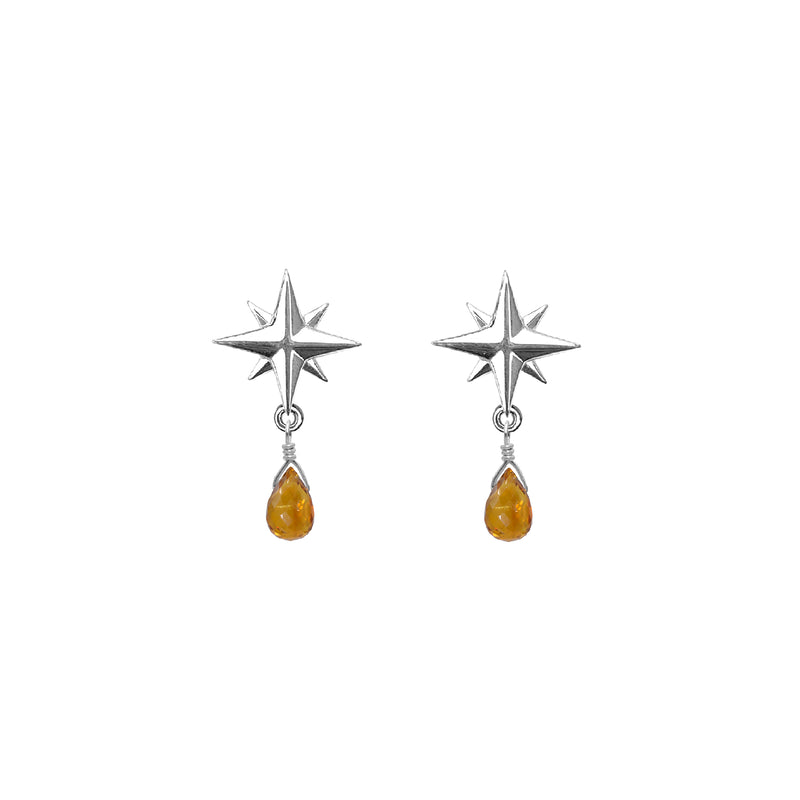 Tiny Compass Rose and Gemstone Post Earrings