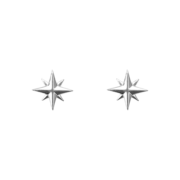 Tiny Compass Rose Stud Earrings