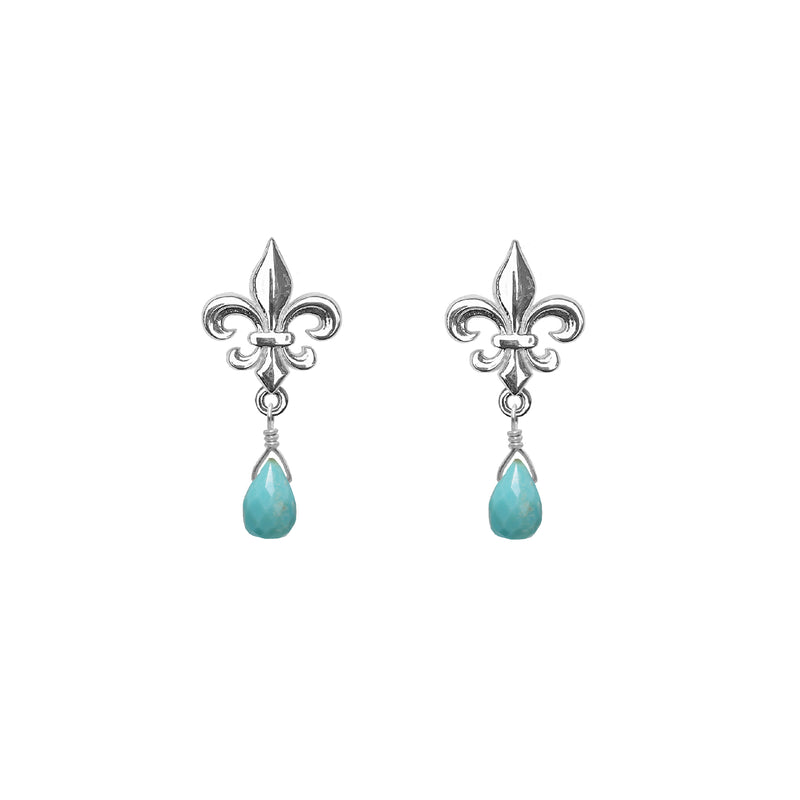 Tiny Fleur de Lis and Gemstone Post Earrings