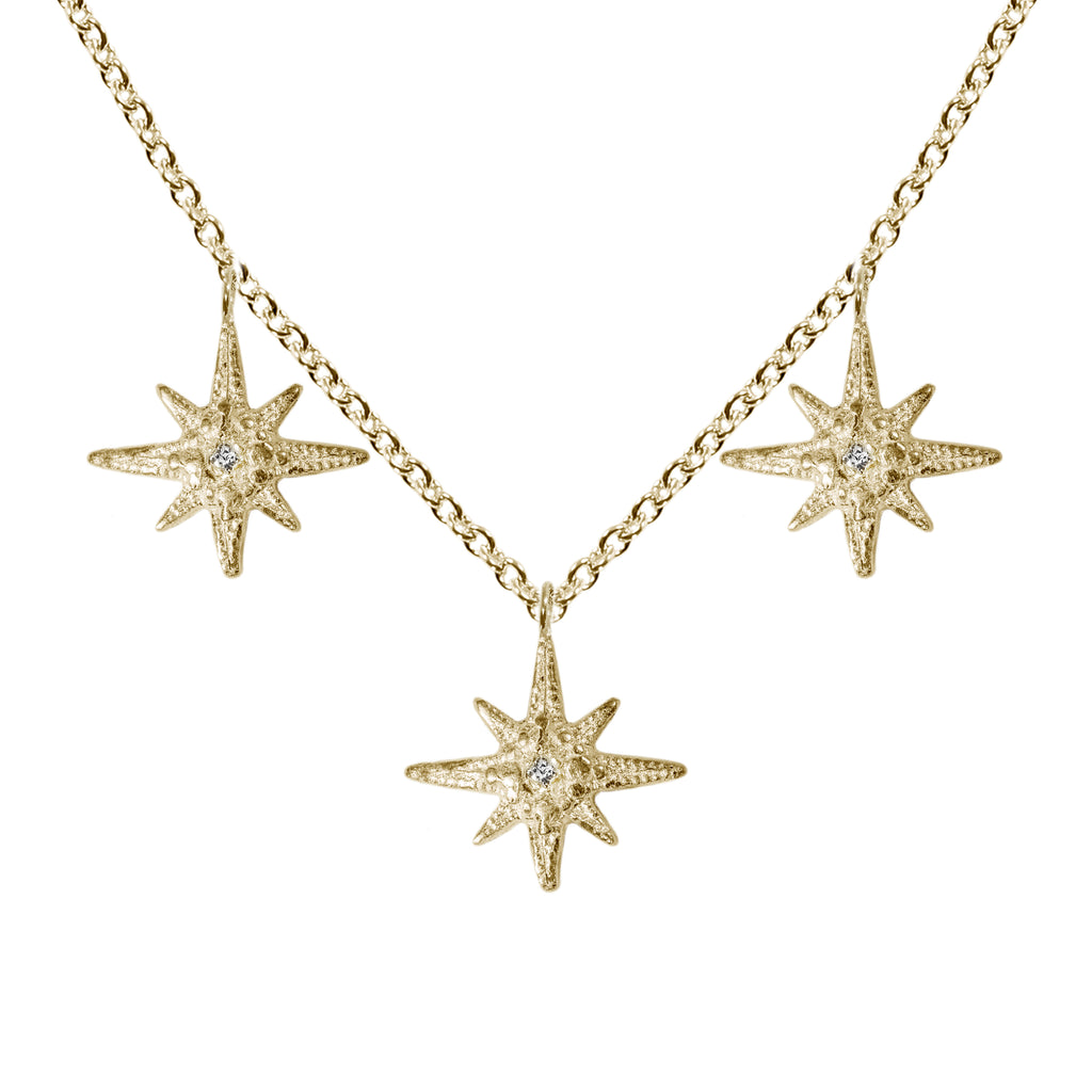 Triple Tiny Gratitude Star Necklace with Diamonds in 14K Gold