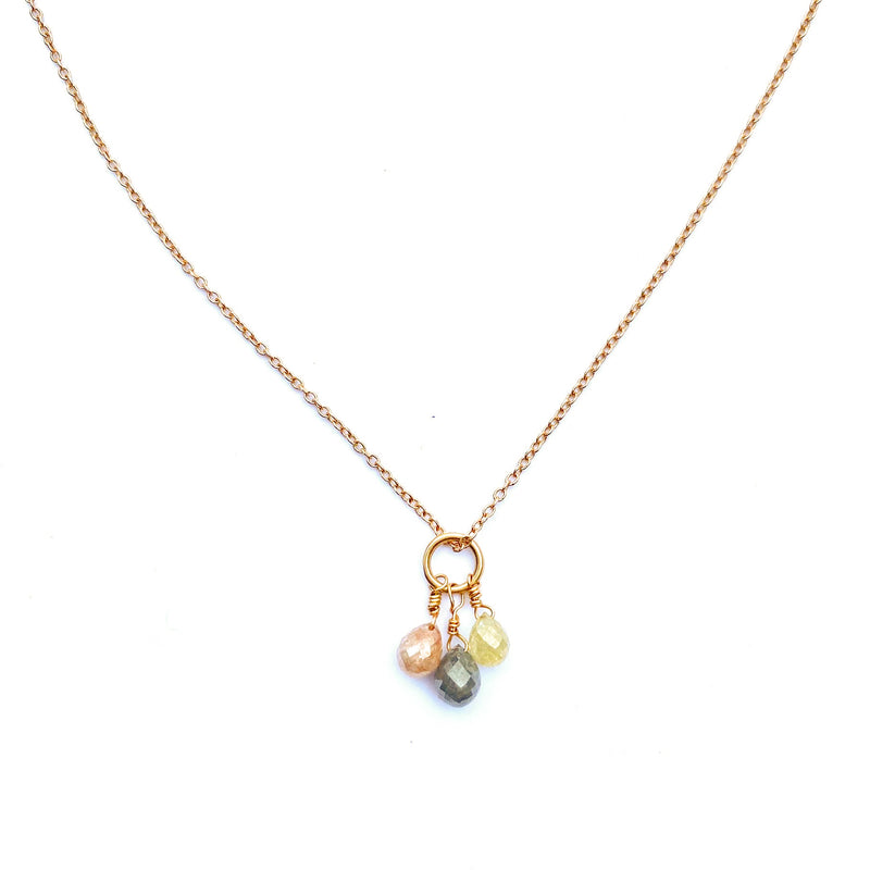 Rustic Diamond Briolette Triple Drop Necklace in 14K Gold