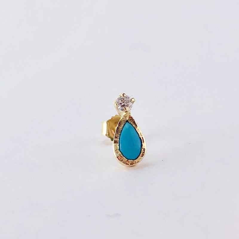 Guiding Light Turquoise Single Stud Earring in 14K Yellow Gold