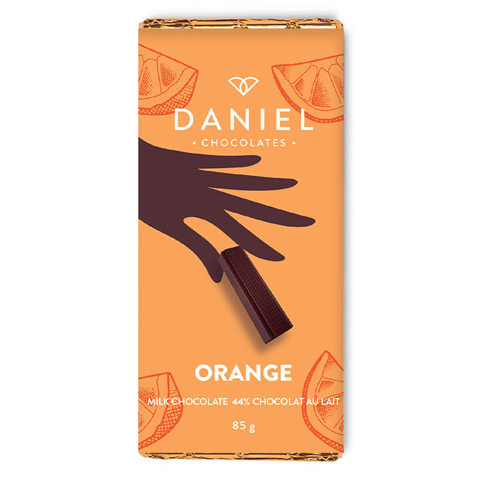 85g bar - orange - milk chocolate -