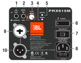 JBL PRX-615-M Powered Loudspeaker Rear Diagram