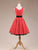 Retro White Polka Dot Red Party Dress With Button